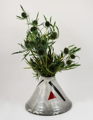 triangle vase with red triangle